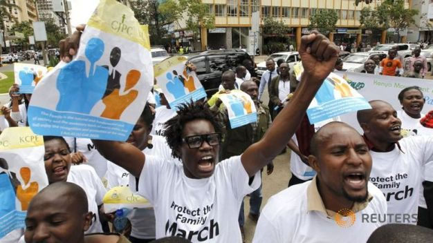 Protesters chant slogans against the lesbian, gay, bisexual and transgender community as they march along the streets of  Kenya's capital, Nairobi, on Monday. The demonstration is aimed at President Obama, who is set to visit the country later this month. (Thomas Mukoya/Reuters)