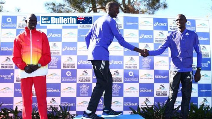 Action from the Gold Coast Airport Marathon 2015. Kenyan Kenneth Mburu Mungara wins the Marathon. Photo: Kit Wise