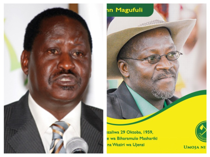 CORD Leader Raila Odinga and CCM Presidential nominee John Pombe Maghufuli